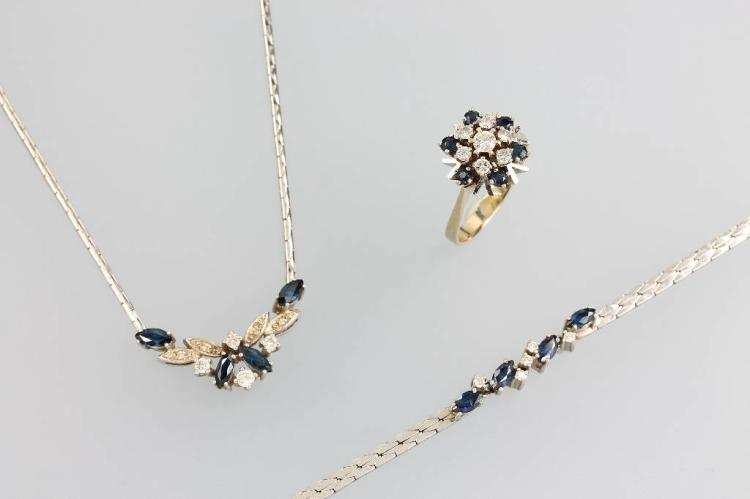 14 kt gold lot with sapphires and diamonds