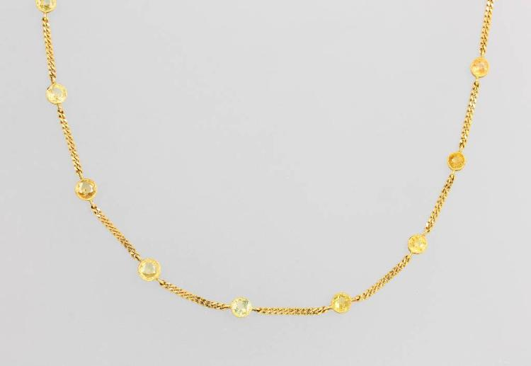14 kt gold necklace with sapphires