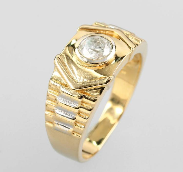 14 kt gold gents ring with brilliant