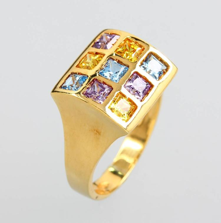 14 kt gold ring with coloured stones