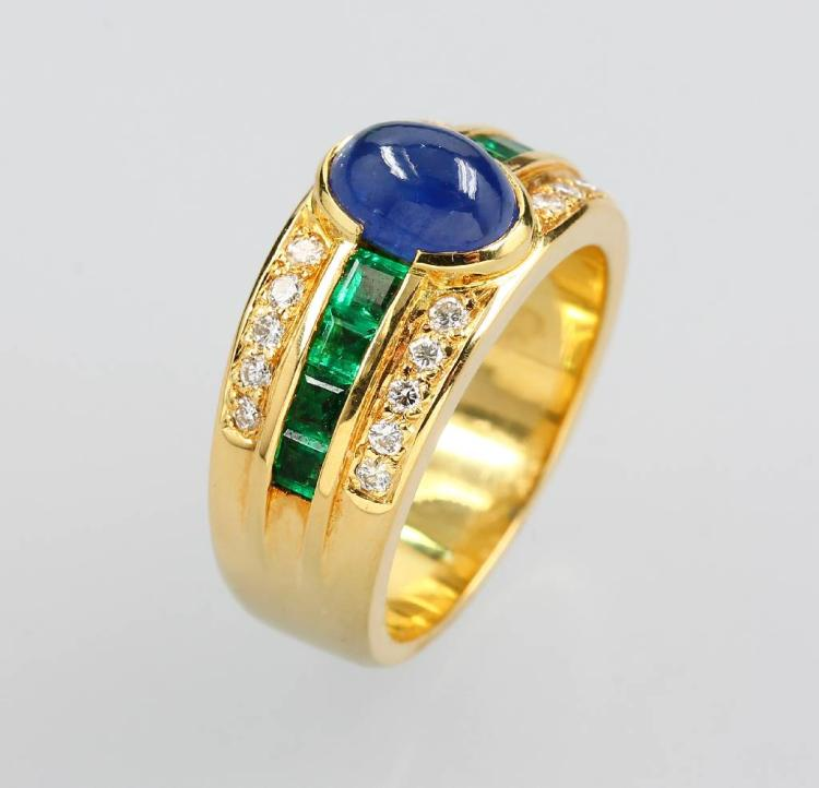 18 kt gold ring with sapphire, tsavorites and brilliants