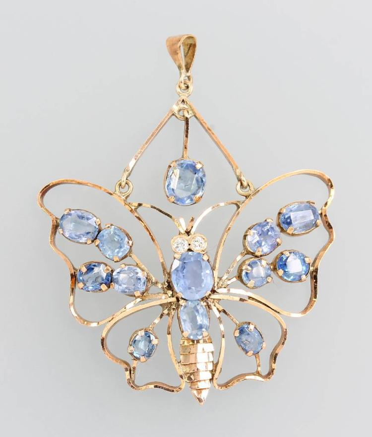 8 kt gold pendant 'butterfly' with sapphires and brilliants