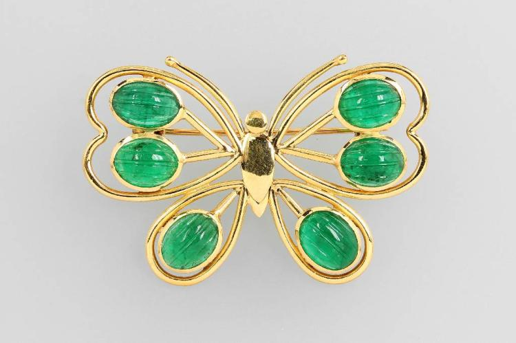 14 kt gold brooch 'butterfly' with engraved emeralds