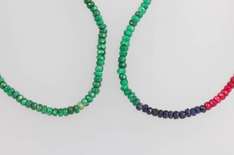 Lot 2 chains with coloured stones