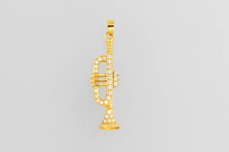 18 kt gold pendant 'trumpet' with brilliants