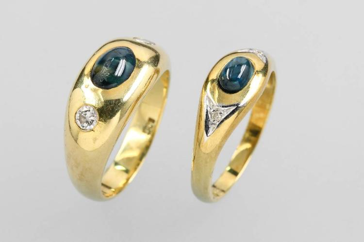 Lot 2 14 kt gold bandrings with sapphires and diamonds