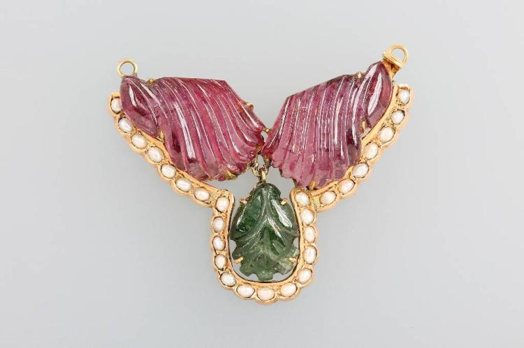 14 kt gold necklace pendant with tourmalines and pearls