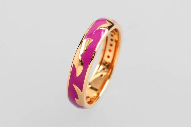 18 kt gold ring with enamel