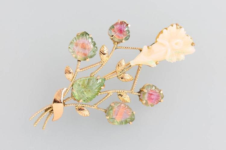 14 kt gold brooch with opal and tourmalines