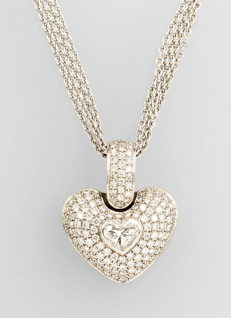 18 kt gold heartclip pendant with brilliants