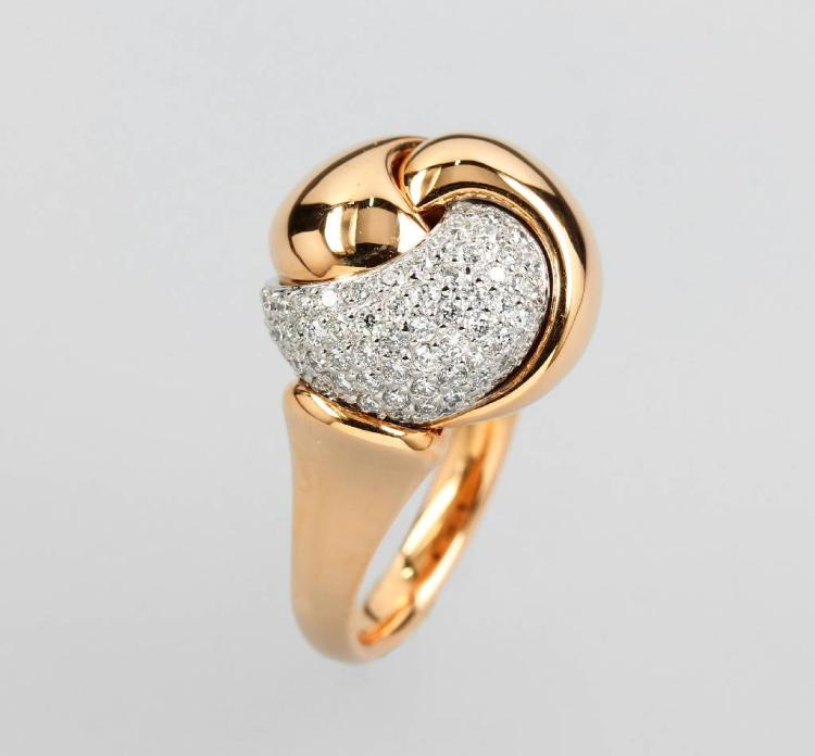 18 kt gold ring with brilliants by LEO WITTWER