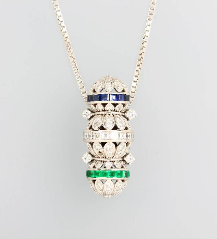 18 kt gold pendant with coloured stones and diamonds