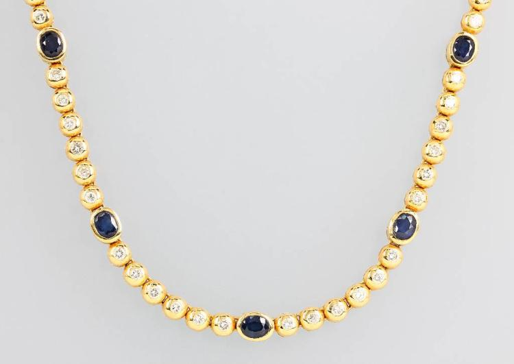 18 kt gold necklace with sapphires and brilliants