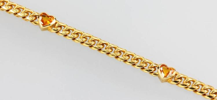 18 kt gold flat curb bracelet with citrine hearts