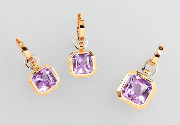 18 kt gold jewelry set with amethysts and brilliants