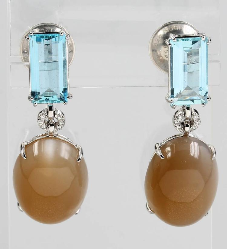 Pair of 18 kt gold earrings with moonstones, aquamarines and brilliants