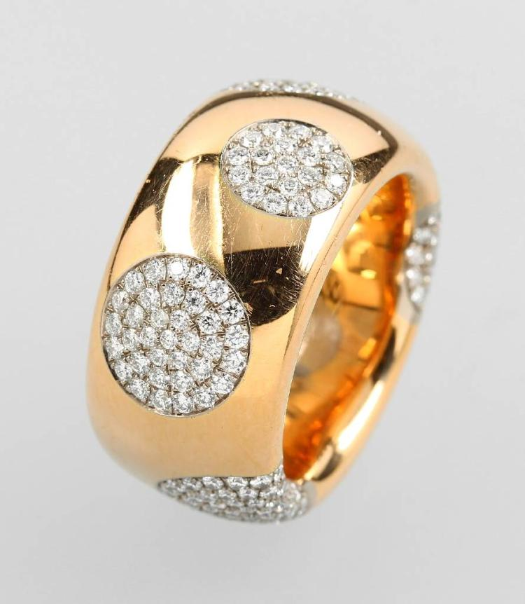18 kt gold ring with brilliants by WERNER HÄRING