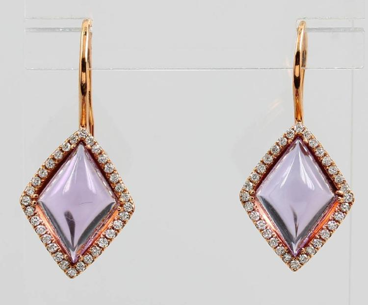 Pair of 18 kt gold earrings with amethysts and brilliants