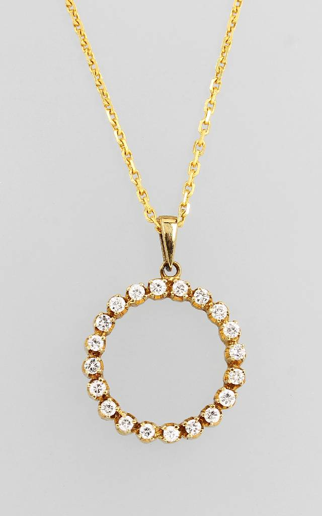 14 kt gold pendant 'circle' with brilliants