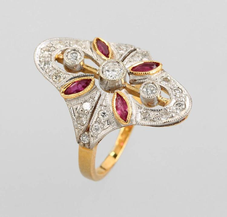 18 kt ring with rubies and brilliants