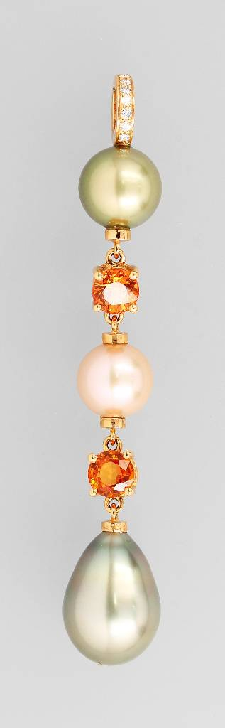 18 kt gold clippendant with cultured pearl, coloured stones and diamonds