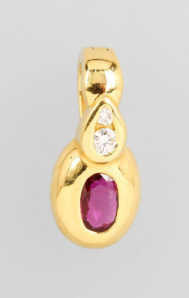 18 kt gold clippendant with ruby and brilliants