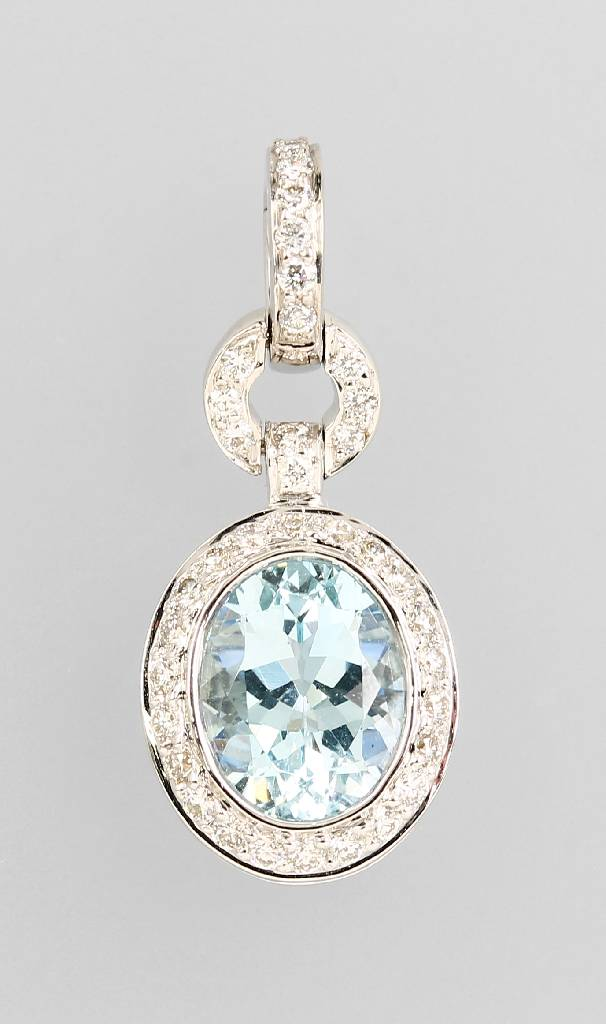 18 kt gold clippendant with aquamarine, sapphire and brilliants