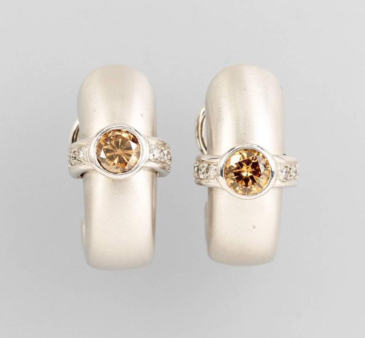 Pair of 14 kt gold hoop earrings with brilliants