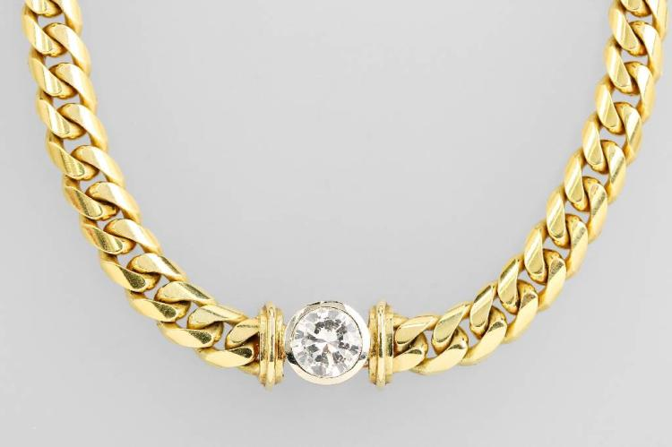 14 kt gold flat curb necklace with brilliant