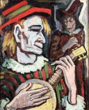 Alexis Kalaeff, 1902-1978, Les Saltimbanques, oil/canvas