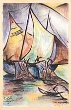 Thea Schleusner, 1879 Wittenberg-1961 Berlin, fishermen in