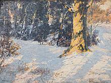 Max Wislicenus, 1861-1957, snowscape, oil/wood