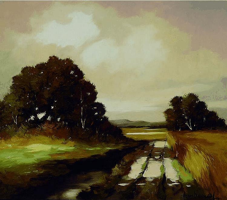 Nowak, Hans, 1922-1996, Landschaft mit Feldweg und