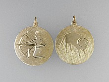 2 zodiac sign pendants, YG 585/000, approx. 9.0 g,