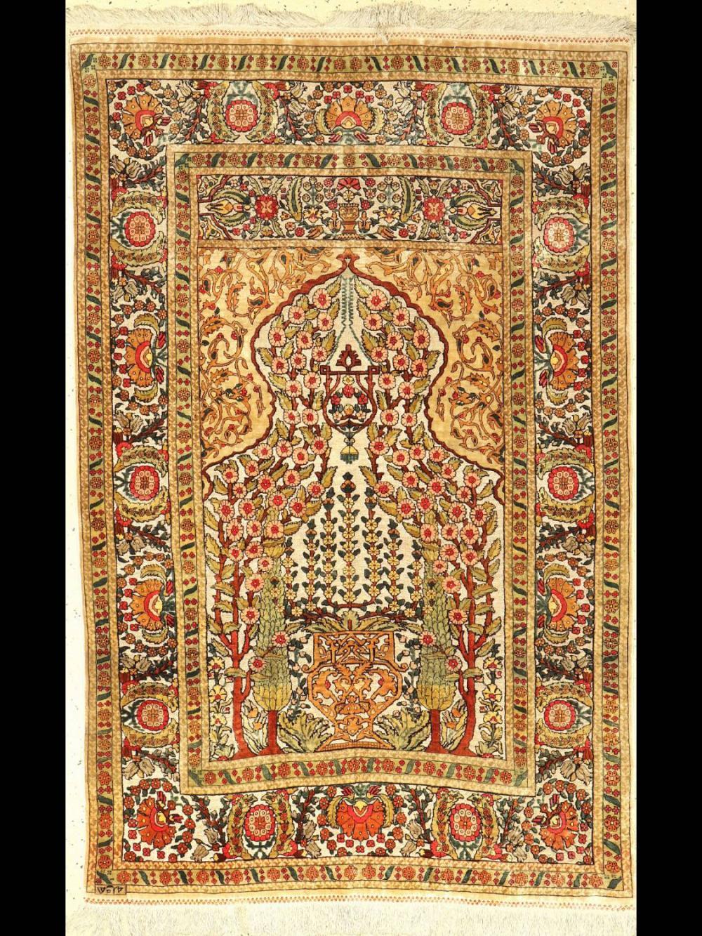 Fine signed silk Hereke, Turkey, around 1950, pure natural