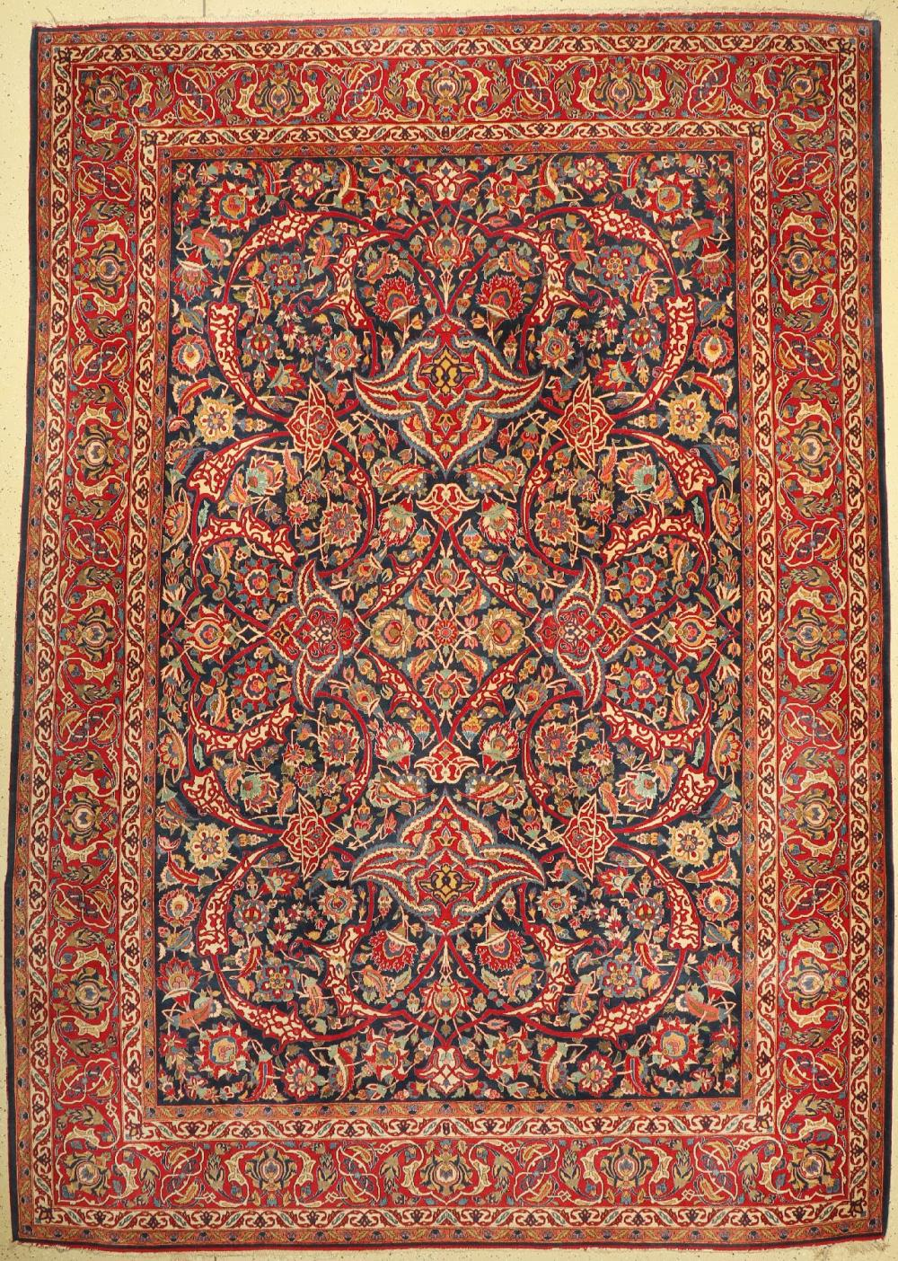 Fine Kashan , Persia, around 1920/1930 wool knotted on