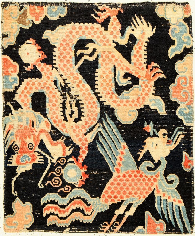 Schigatse (dragon), Tibet, around 1900, wool knotted on