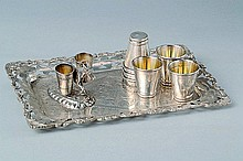 Tray with six mug, mid 20th century, 800 silver,