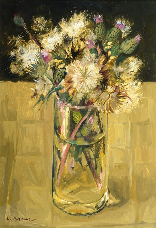 Werner Brand, born in 1933, still life with thistles