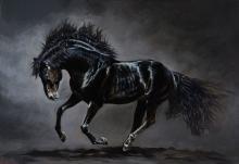 Ekaterina Gasmi, contemporary artist, black horse