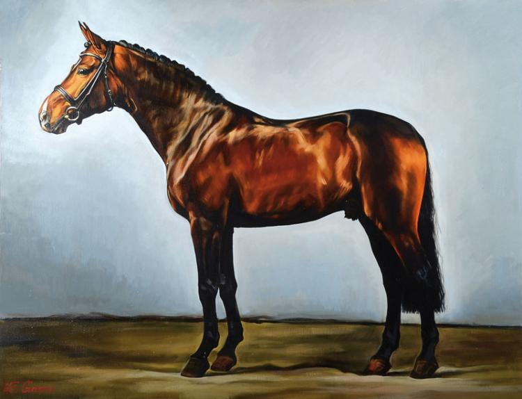 Ekaterina Gasmi, contemporary artist, brown horse