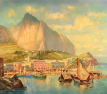 Salviati, Italian artist, 60s, Italian coast view