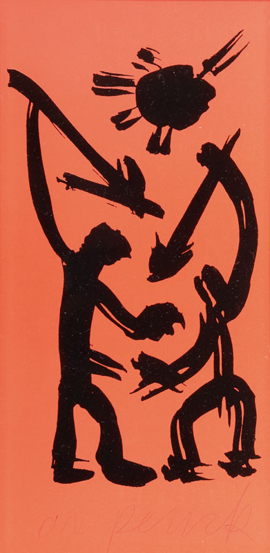 A.R. Penck, born 1939, screen print on red paper