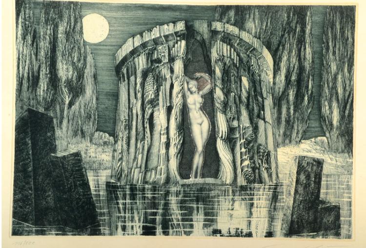 Prof. Ernst Fuchs, born 1930 Vienna, etching