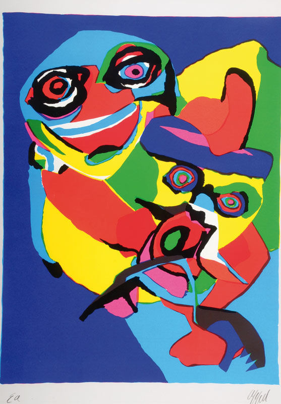 Karel Appel, 1921-2006, two color screenprints