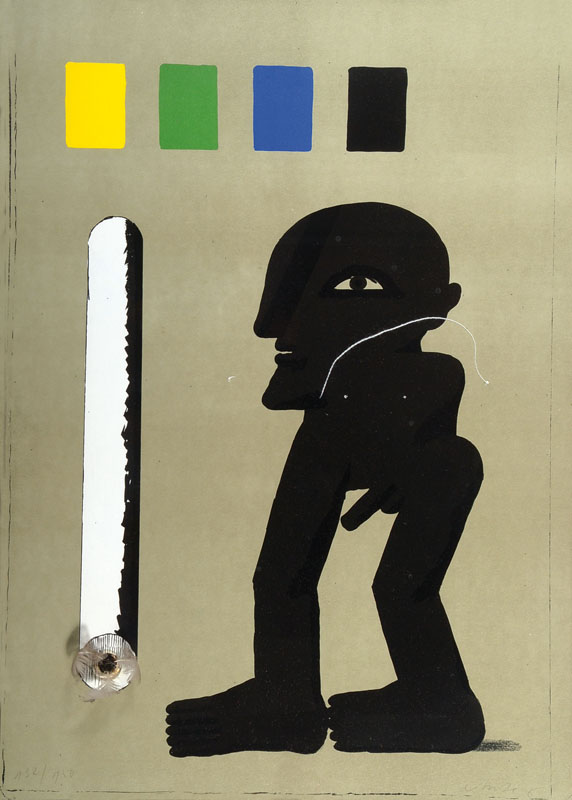 Horst Antes, born 1936, collaged color lithograph