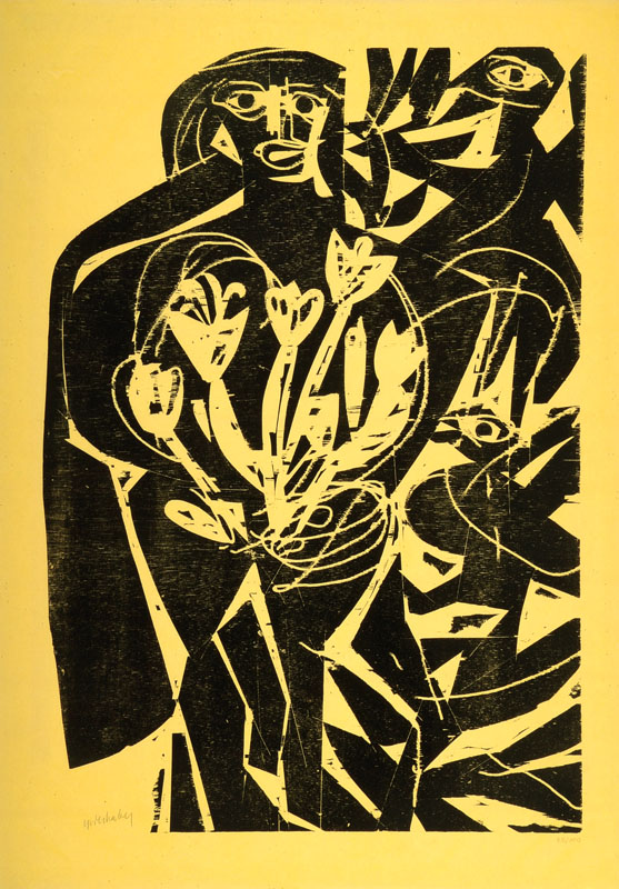HAP Grieshaber, 1909-1981, black figure with tulips