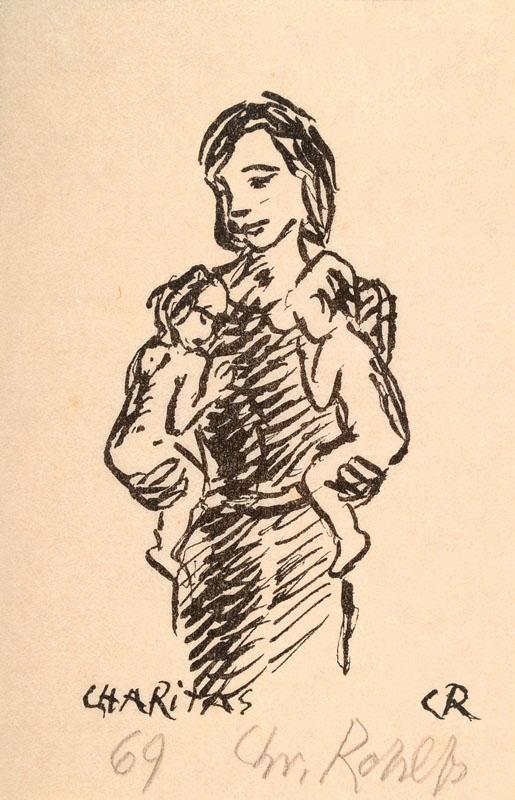 Christian Rohlfs, 1849-1938, Charitas, lithograph