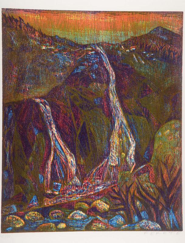 Esteban Fekete, 1924-2009, two color woodcuts