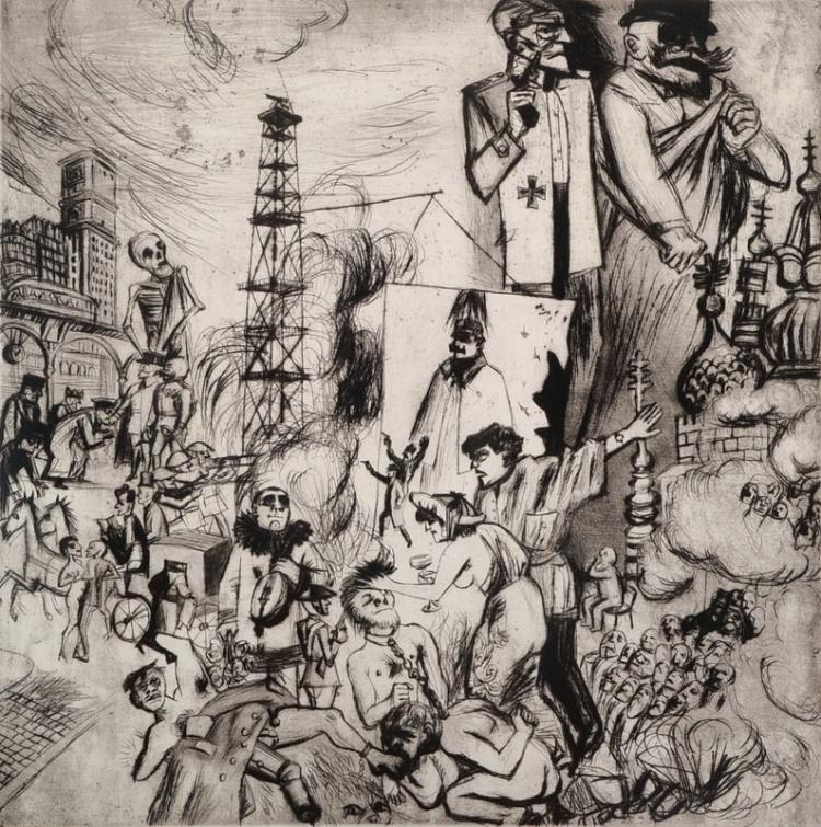 Karl Hubbuch, 1891-1979, etching